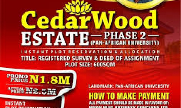 Plots of Land For Sale in CEDAR WOOD Estate Phase 2