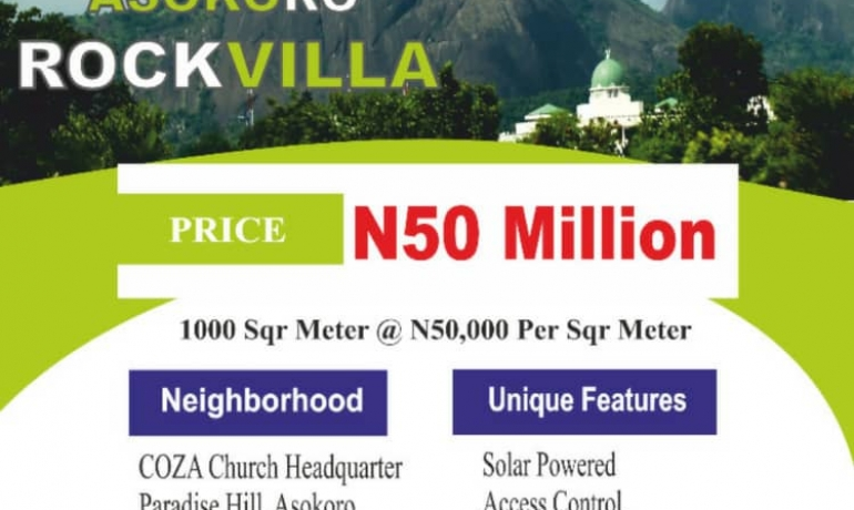 Amazing Land Offer at Asokoro Rock Villa Estate, Asokoro Extension, Abuja